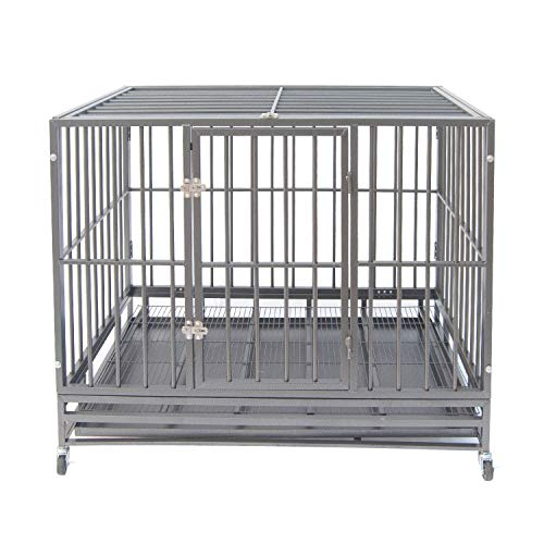 Heavy Duty Pet Dog Cage Strong Metal Crate Kennel Playpen w/Lockable Wheels&Tray (47, Grey