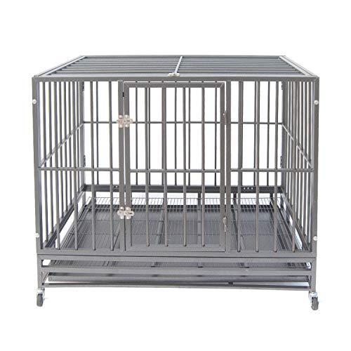 Heavy Duty Pet Dog Cage Strong Metal Crate Kennel Playpen w/Lockable Wheels&Tray (47, Grey Kennels