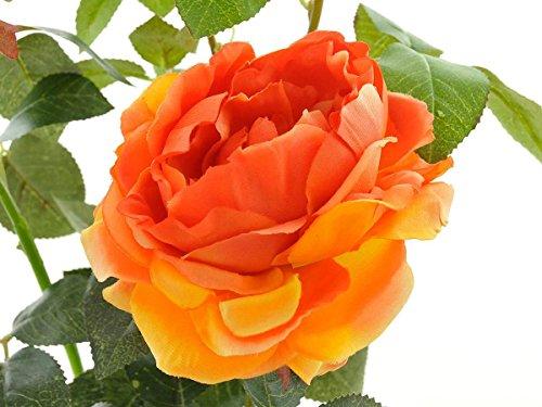 Aniba Design Kunstrose mit 2 Blüten und 1 Knospe orange ABROS016