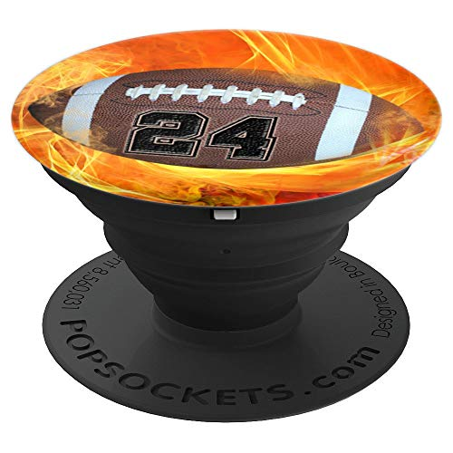 American Football Number 24 Lucky Number Flame - Football - PopSockets Grip and Stand for Phones and Tablets