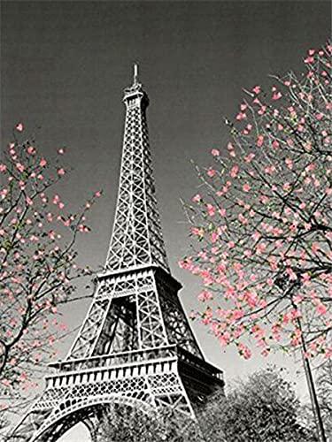 5d pintura de diamantes taladro completo redondo negro rojo Torre Eiffel diamantes de imitación bordado de diamantes Kit de artesanía de paisaje A1 50x70cm