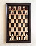 Wall Mounted Chess Board Straight Up Game Set Handmade Wooden Chess Set Vertical Board with Black Frame Home Decor Gift Chessmen