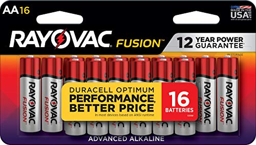 Rayovac Fusion AA Batteries, Premium Alkaline Double A Batteries (16 Battery...