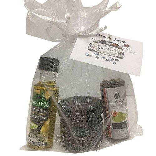 Regalo con miniaturas de Aceite de Oliva, vinagre de Jerez D.O. y tarro mermelada de cerezas, en bolsa de organza (Pack 24 ud)