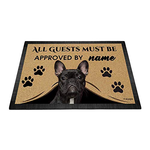 BAGEYOU All Guests Must be Approved Outdoor Doormat with My Love Dog French Bulldog Welcome Floor Mat Custom Name 35.4' x 23.6'