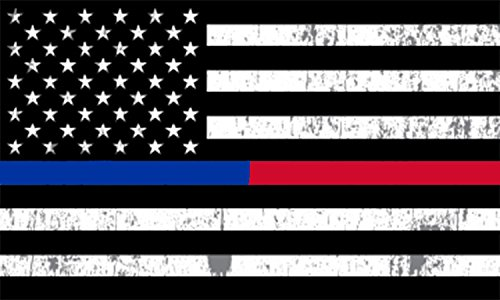Rogue River Tactical Thin Red Blue Line Lives Matter Flag Car Decal Bumper Sticker Support Law Enforcement Police Officers and Firefighter (3x5 Inch)