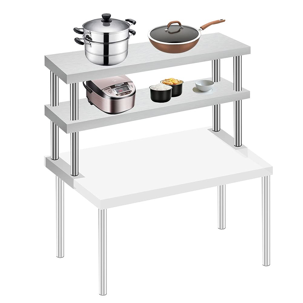 HOMIER Stainless Directly managed store Steel Over Shelf for Table Wide Double New sales Kit Prep