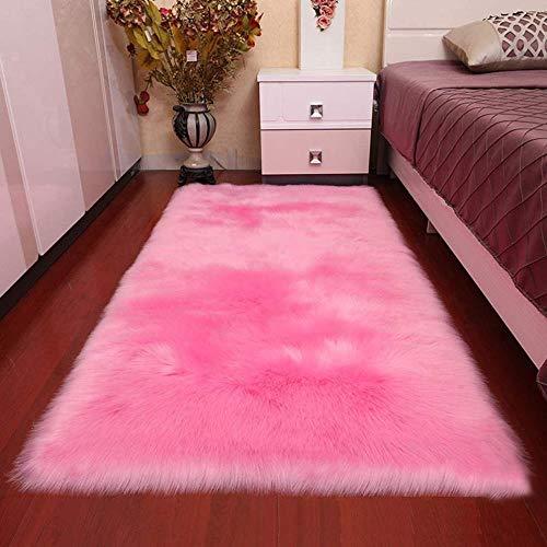 VHJ Kunstpelzteppich, weiche,zotteligeTeppiche Anti-Rutsch-Bodenteppichfür Schlafzimmer Wohnzimmer, 2x4 Fuß (60x120 cm)