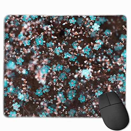 Blue Plum Blossom Rutschfeste personalisierte Designs Gaming Mouse Pad Schwarzes Tuch Rechteck Mousepad Art Naturkautschuk Mausmatte mit genähten Kanten