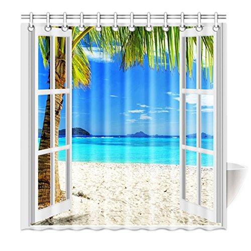 Violetpos Top Qualität Anti-Schimmel Duschvorhang Digitaldruck für Badezimmer Badvorhänge Die Landschaft Vor Dem Fenster Weißes Fenster Strand Ozean Kokosnussbaum 120 x 180 cm