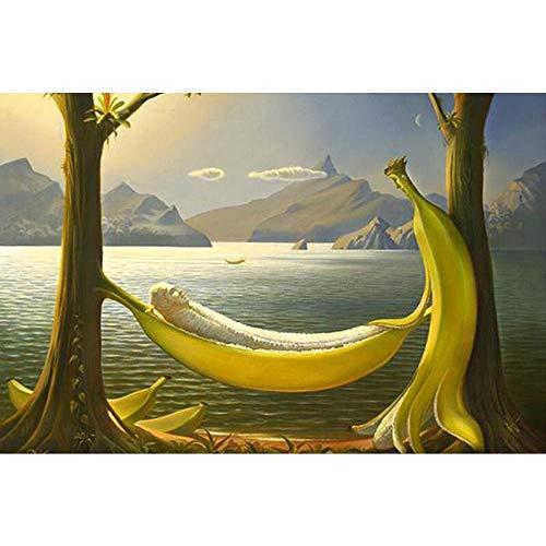 Puzzle 1000 Piezas Plátano de Dibujos Animados Junto al Lago Puzzle de Madera para Adultos y niños de 12 años en adelante 50x75cm
