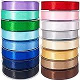 Cintas de colores Raso de Satén 350 Yardas Cinta para Lazos de Seda Ancho 15 mm Pack 16 Rollos 16 Colores Brillantes. Cinta de Tela Doble Cara para Manualidad Decoración de Regalo 1.5 cm