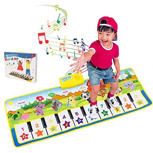 TAKARAFUNE ピアノマット 音楽マット 10鍵盤 録音機能 再生機能 プレイマット 折り畳み 安全無毒 滑り止め 鍵盤 マット スピーカー搭載 ミュージックマット 触感ゲーム 知育玩具 10曲デモ 8種類楽器音 デモモード