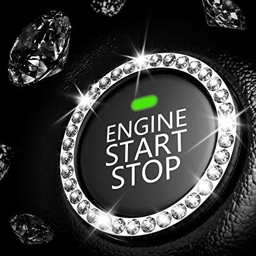 Car Interior Decoration Emblem Sticker, Bling Car Crystal Rhinestone Ring Accessories for Women, Automotive Parts Start…