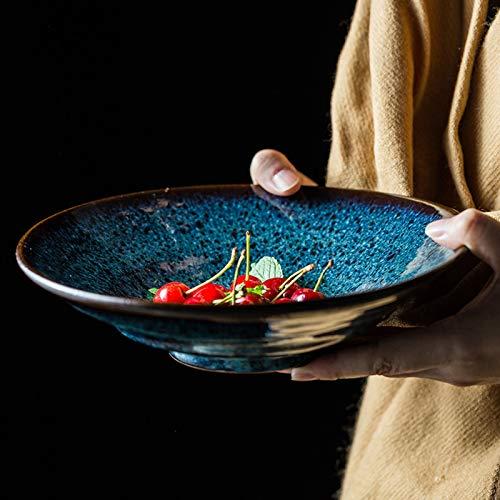 Cuenco De Pasta Creativo Cuenco De Cerámica Cuenco De Fideos Azul Cuenco De Ensalada De Frutas Cuenco De Sopa De Alta Capacidad Restaurante Cuenco De Avena Cuenco De Postre Cuenco Para Mezclar,700ml
