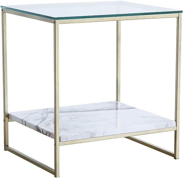 蒂莉 · 林 (Tilly Lin) 玻璃顶部人造大理石端侧餐桌床头柜配金色金属腿