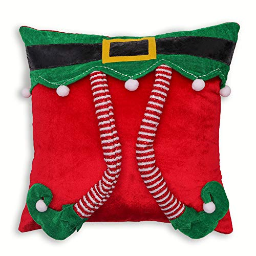 Valery Madelyn Delightful Elf Christmas Pillow Covers 18x18 inch with 3D Elf, Themed with Elf Tree Skirt (Not Included)