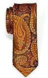 Retreez Corbata de microfibra fina con estampado de cachemir para hombres Dorado y negro
