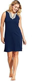 047c9a796d185 Lands' End Women's Plus Size Cotton Jersey Embelished Sleeveless Tunic  Dress Swim Cover-up