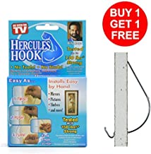 Hercules Hook Picture Wall Drywall Anchors Hanger Gorilla Monkey Hooks Hang Shelves, Art, Mirrors, Frames, Planters without Any Tool, Hammer, Nails or Drilling Hold up to 150lb - Buy 1 Get 1 Free (20)