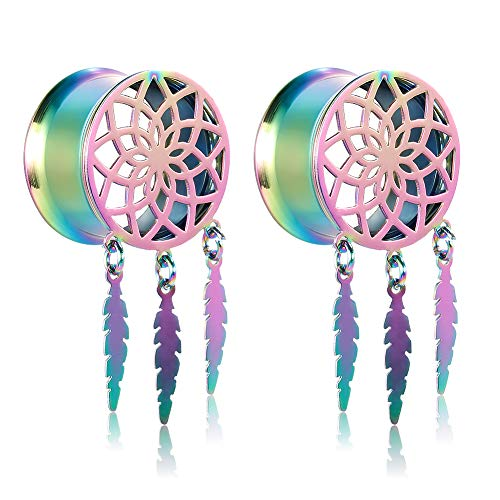 COOEAR Fashion Gauges for Size 00g Plugs and Tunnels, Dream Catcher Style Dangel Flared Stretchers Size 0g to 1 inch Gift Packing.