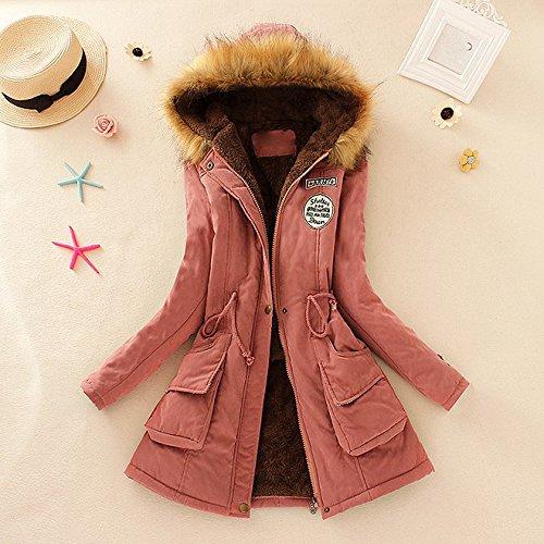 Toamen Womens Coat Clearance Autumn Winter Warm Fur Collar Slim Fit Monochrome Zipper Long Hooded Jacket Parka Outwear(Hot Pink, 8)