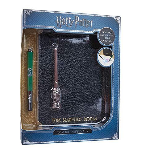 WOW! STUFF WW-1025 Harry Potter Diary Notebook, Pen, Wand Riddle J.K. Rowling's Wizarding World Tom Riddle's Tagebuch, Slytherin House Stift und UV-Stab, Schwarz, A5