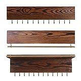 Snh0216 Conjunto de 3 organizador de joyería montado en la pared, organizador de joyería colgante de madera con barra de pulsera extraíble y 24 ganchos, para collares, anillos, pendientes, pulseras y