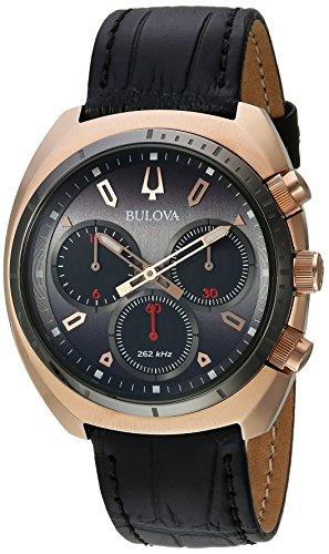 Bulova Curv Collection 98A156 - Reloj analógico de cuarzo para hombre, acero inoxidable, correa de piel y cocodrilo, color negro, 22 (modelo: 98A156)