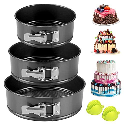 Kuchenform Rund, Samione Springform Set mit Mini Silikon Küche-Ofenhandschuhe, Flachboden Kuchenformen auslaufsicher Runde Backform, Antihaftbeschichtet, 3 Größen Enthält 18cm/20cm/22cm