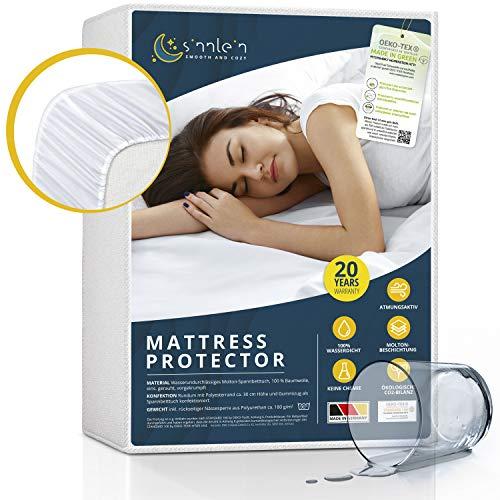 sinnlein® Waterdichte matrasbeschermer, alle maten, ademende matrasbeschermer, Molton, Standard 100 by Oeko-Tex®, Made in Germany, matrasbeschermer zonder knisters