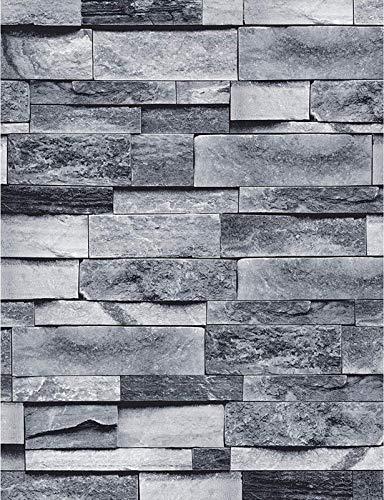 MS magic Vintage Gray Brick Wallpaper Self Adhesive Film Brick Peel and Stick Wallpaper Brick Faux Textured Wallpaper Stone Look Wallpaper