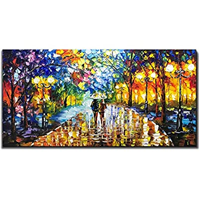V-inspire Art, 24X48 inch Modern Abstract Canvas Oil Paintings Wall Art Rain Night Street View Hand Painted Acrylic Art Wood Frame Painting Living Room Bedroom Office Decoration Ready for Hanging by V-inspire