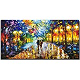 V-inspire Art, 24X48 inch Modern Abstract Canvas Oil Paintings Wall Art Rain Night Street View Hand Painted Acrylic Art Wood Frame Painting Living Room Bedroom Office Decoration Ready for Hanging