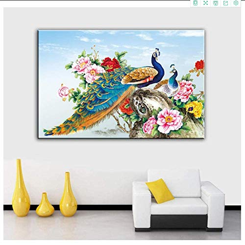 YaShengZhuangShi Canvas wall art no frame 50x70cm(19.7x27.6in) Beautiful Peonies and Peacock Art Spray For Home Decoration Unframed Flower Wall Pictures