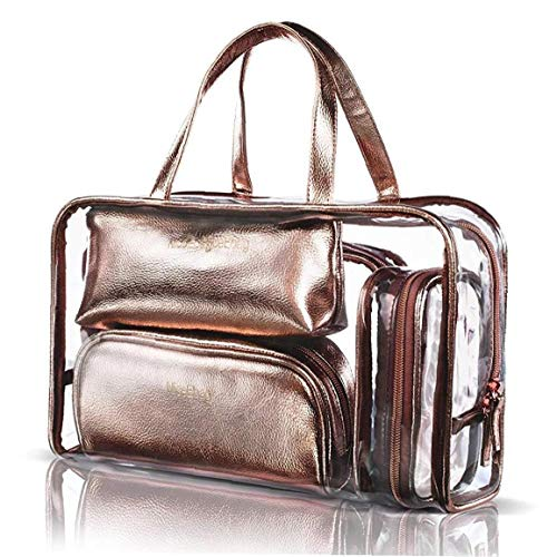 5 En 1 Cosmetic Bag & Carry Case Portátil Sobre Viajes Neceser De Maquillaje De Pvc Transparente Quart De Equipaje Del Organizador Del Bolso Para Hombres Y Mujeres Y Jardín Instrumento De Maquillaje