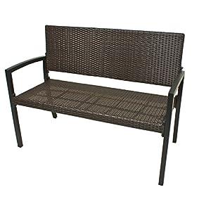 Unbekannt VARILANDO Gartenbank Parkbank Sitzbank 2-Sitzer aus Kunststoffgeflecht und Aluminium in der Farbe Coffee