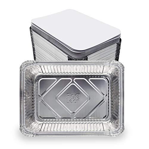 """(60 Pack) Premium 2.5-LB Heavy Duty Disposable Aluminum Foil Pans with Lids - 8.6"""" x 6.1"""" x 2"""""""