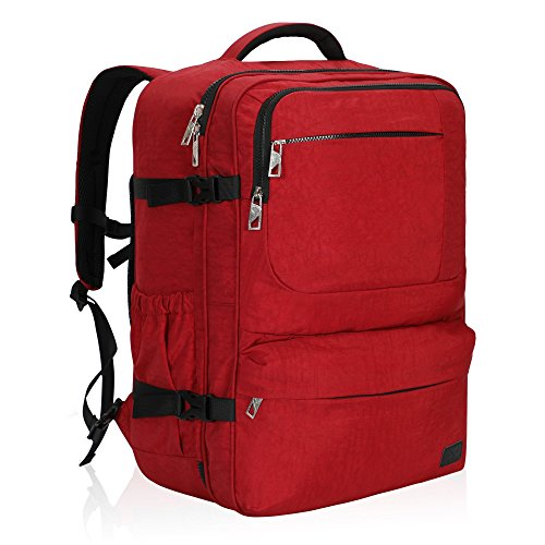 Hynes Eagle 44L Carry on Backpack Flight Approved Compression Travel Pack Cabin Bag, Red