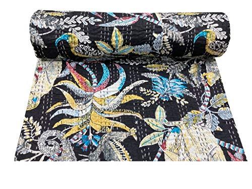 Colcha Hippie con estampado floral, color negro y negro, colcha bohemia, colcha acolchada a mano, manta grande para habitación