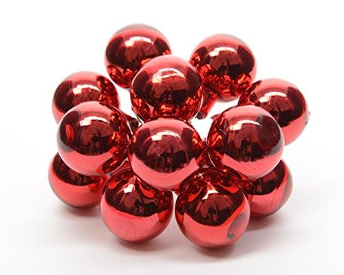 Kaemingk 710417 Lot de 12 décorations de Noël en Verre Rouge 20 mm