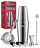 Cocktail Shaker, Cocktail Shakers 750ml, Cocktail Making Set 8 Piece, Cocktail Shaker Kit with Strainer, Double Jigger, Bar Mixing Spoon, Boston Shaker Bartender Maker Martini sets for Christmas Gifts