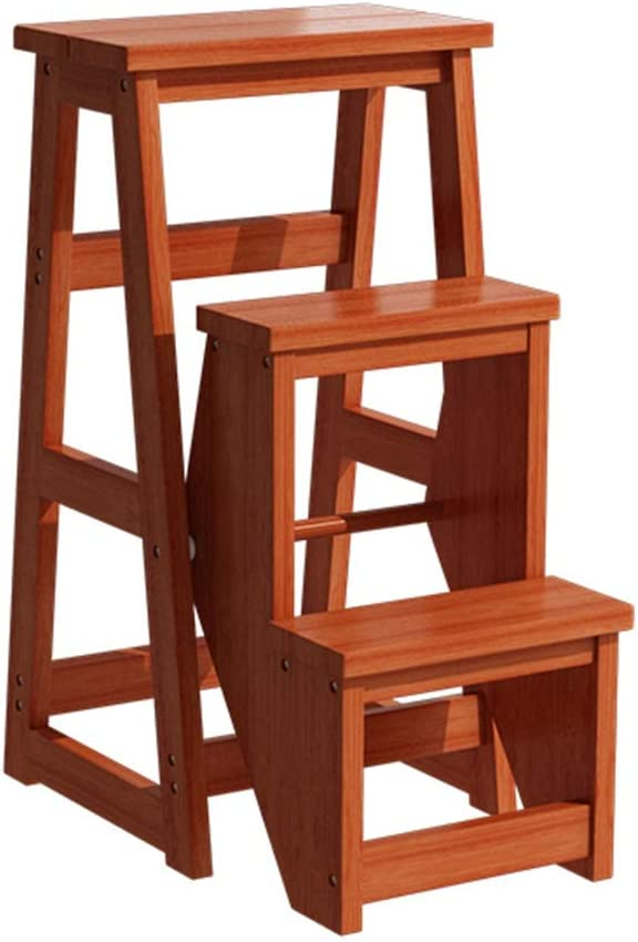 Patios Solid Wood Step Stool Ladder Foldable Multifunctio Cheap Bombing new work super special price 3-Step