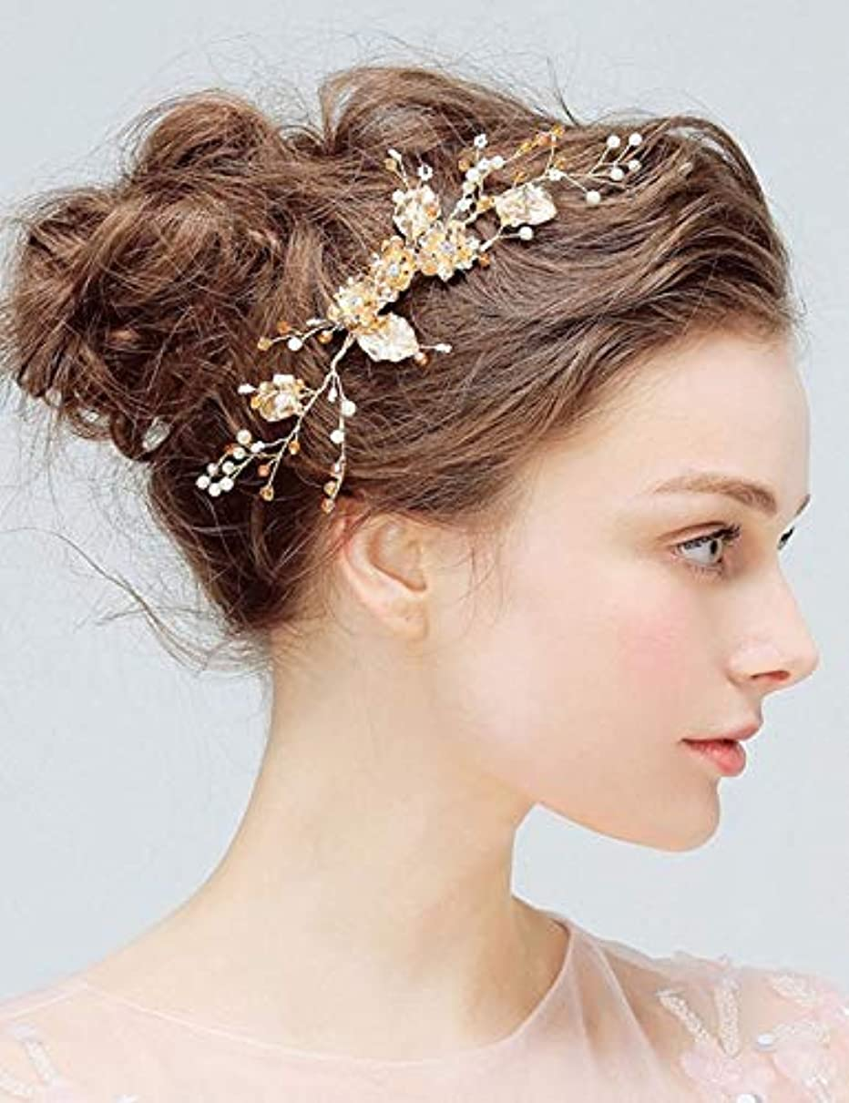 ハム出くわすひどいDeniferymakeup Bridal Comb Floral Gold Crystal Leaf Bridal Hair Comb Vintage Inspired Hairpiece Crystal Comb Veil Clip Bridal Hair Accessories [並行輸入品]