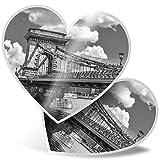 Impresionante pegatinas de corazón de 7,5 cm – BW – Chain Bridge Danubio Budapest divertidos calcomanías para portátiles, tabletas, equipaje, libros de chatarra, frigorífico, regalo genial #42667