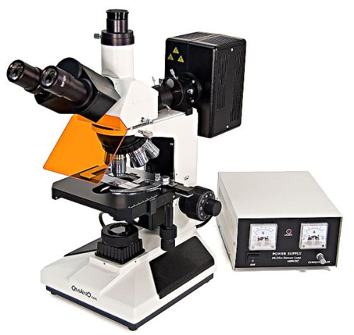 Omano Trinocular Upright Fluorescence Compound Microscope - OMFL400-4pc Plan Objective Lenses - 2pc FL Objectives - 100W Mercury Lamp - Centering Telescope - Integrated Halogen Illumination