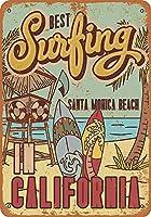 アートウォールインテリアアルミサインインチ、最高のサーフィンサンタモニカビーチ、バレンタインデーのガールフレンドのボーイフレンドの記念日のためのギフト金属の看板