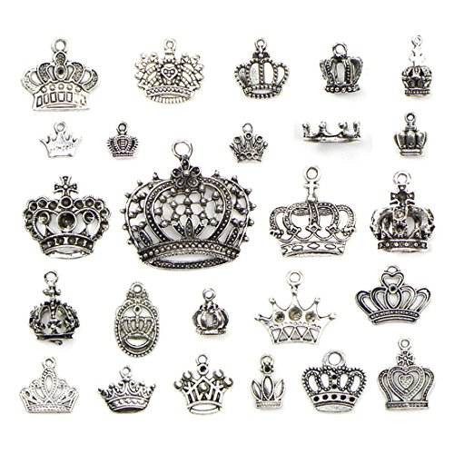 JIALEEY Crown Charms Pendants Beads, Vintage Silver Multistyle Crown Charm Pendant Connector for DIY Jewelry Making Accessaries Craft Supplies Bulk Lots, 25 Pcs