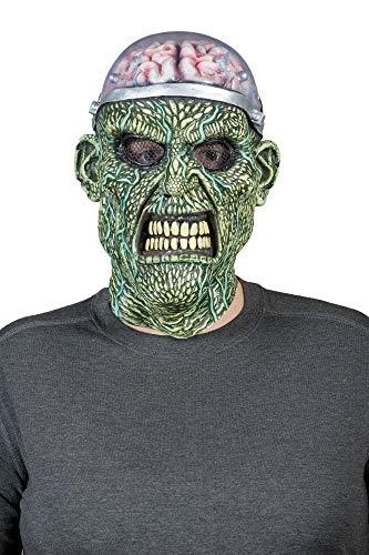 MIMIKRY Mscara de ltex para cerebro expuesto con funcin de luz LED, zombie, laboratorio, monstruo, Halloween
