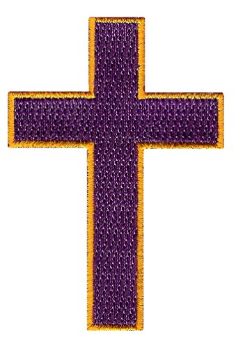 Christian Cross Iron-On Embroidered Patch Purple Crucifix Religious Biker Emblem